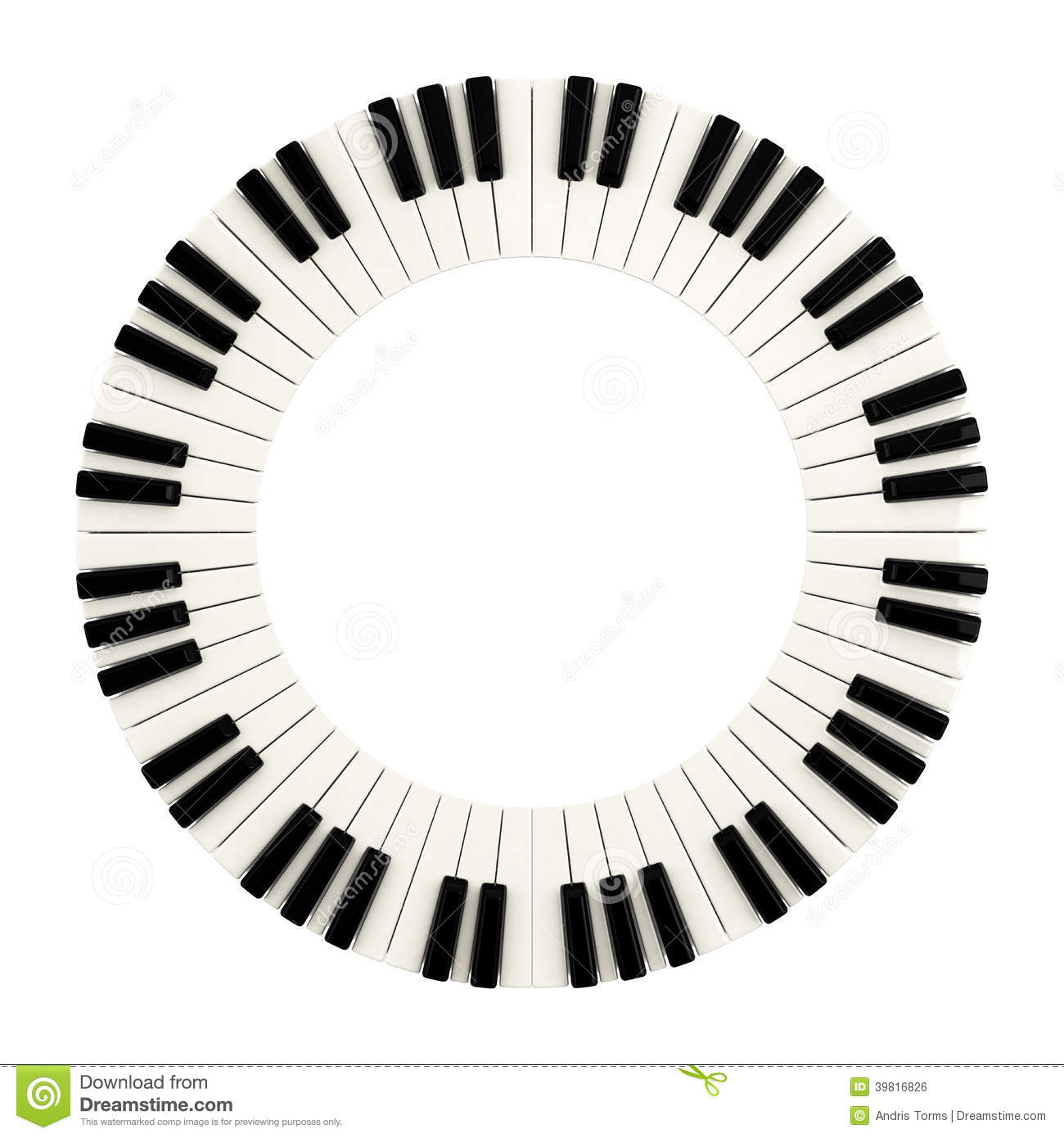 Piano Keys Circle 3d Stock Illustration Illustration Of
