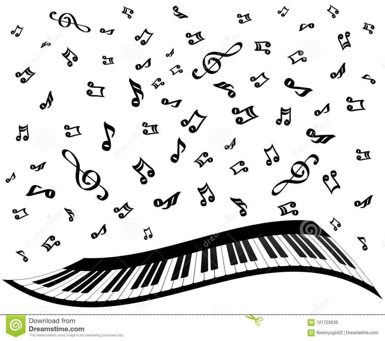 Piano Keys And Music Notes On White Stock Vector
