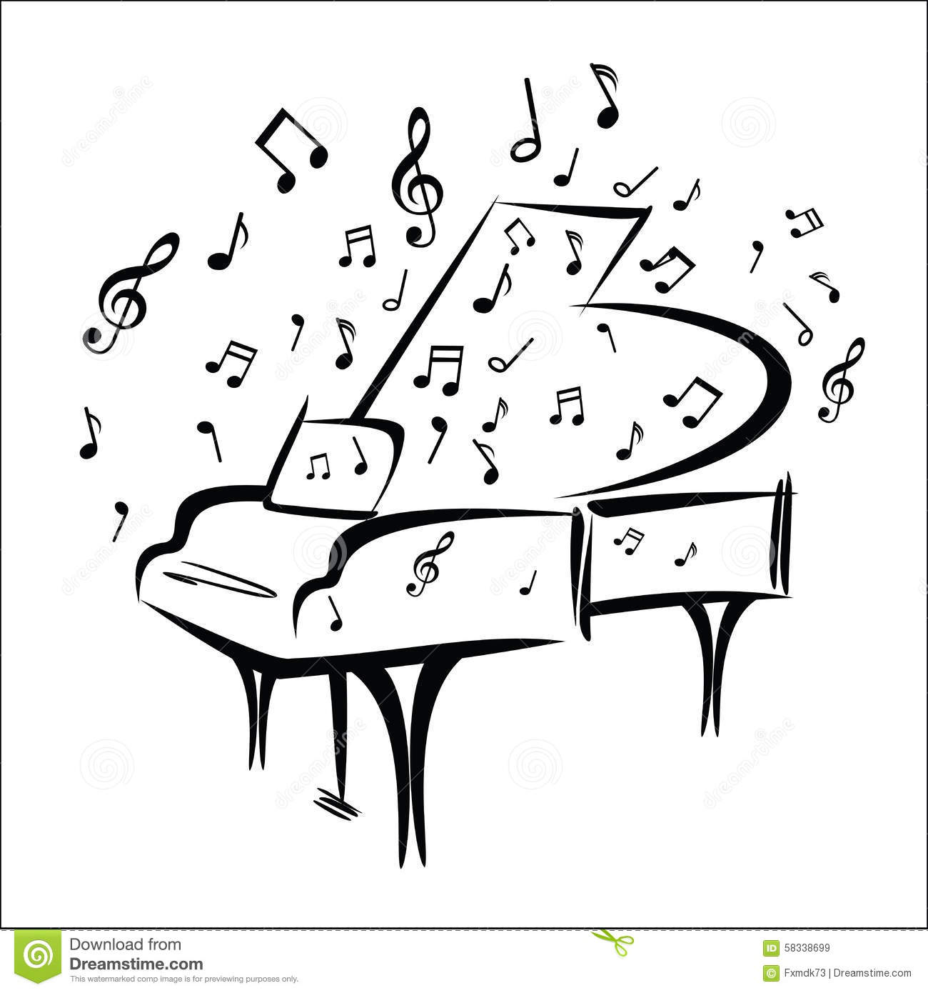 Piano Sketch Stock Vector Illustration Of Style White