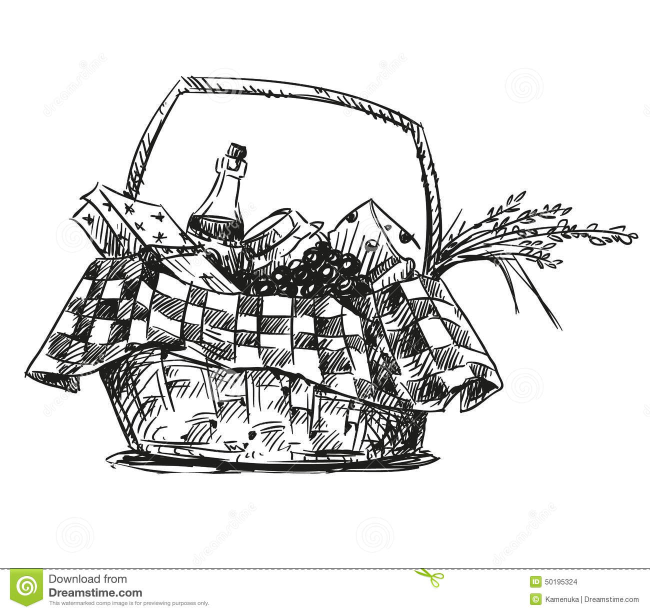 Picnic Basket With Snack Stock Vector Illustration Of