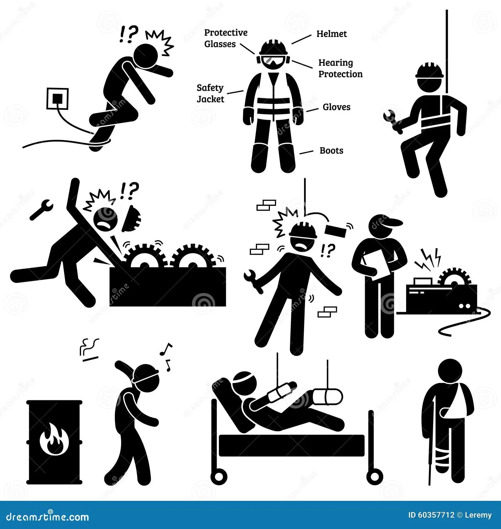 Pictograma Clipart Do Perigo De Acidente Do Trabalhador Da