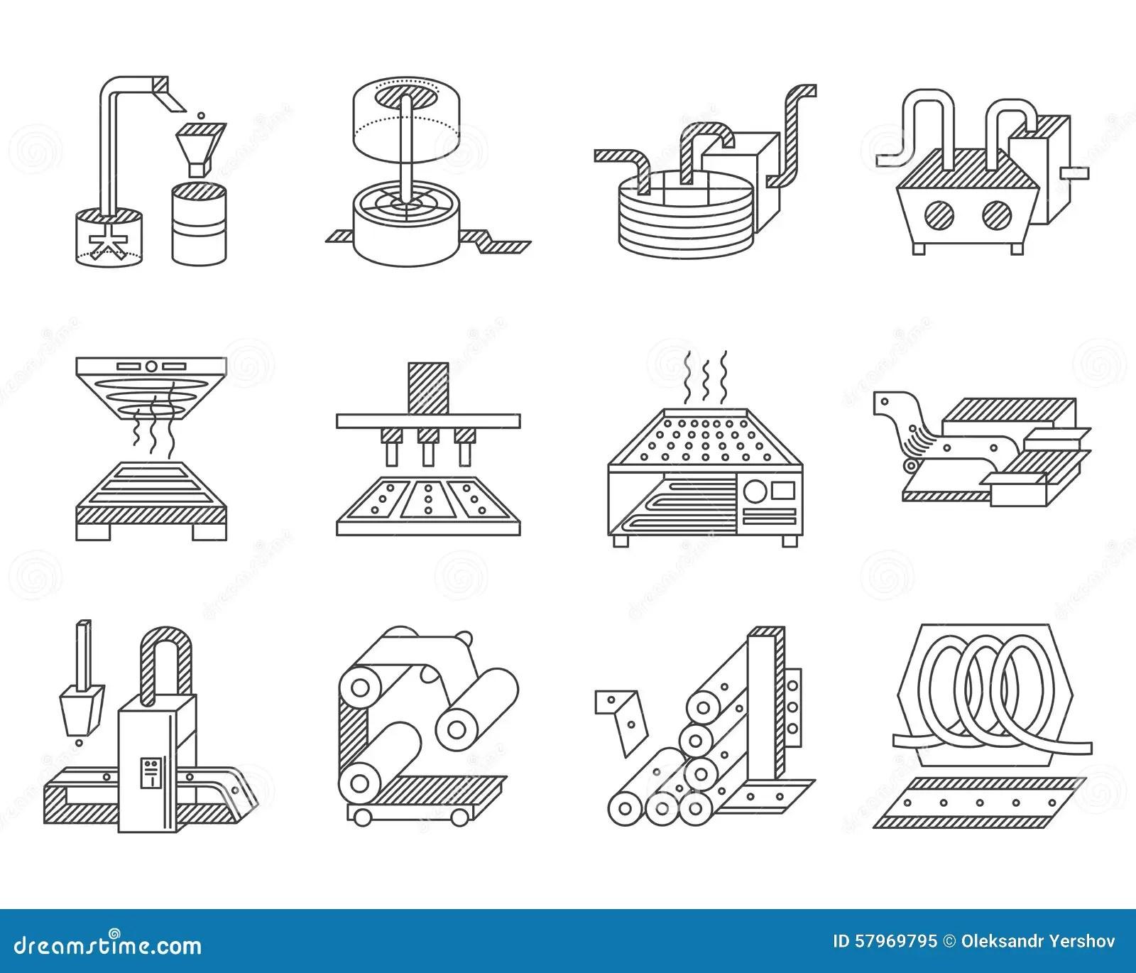 Pictogrammen Voor Voedselverwerkende Industrie Stock