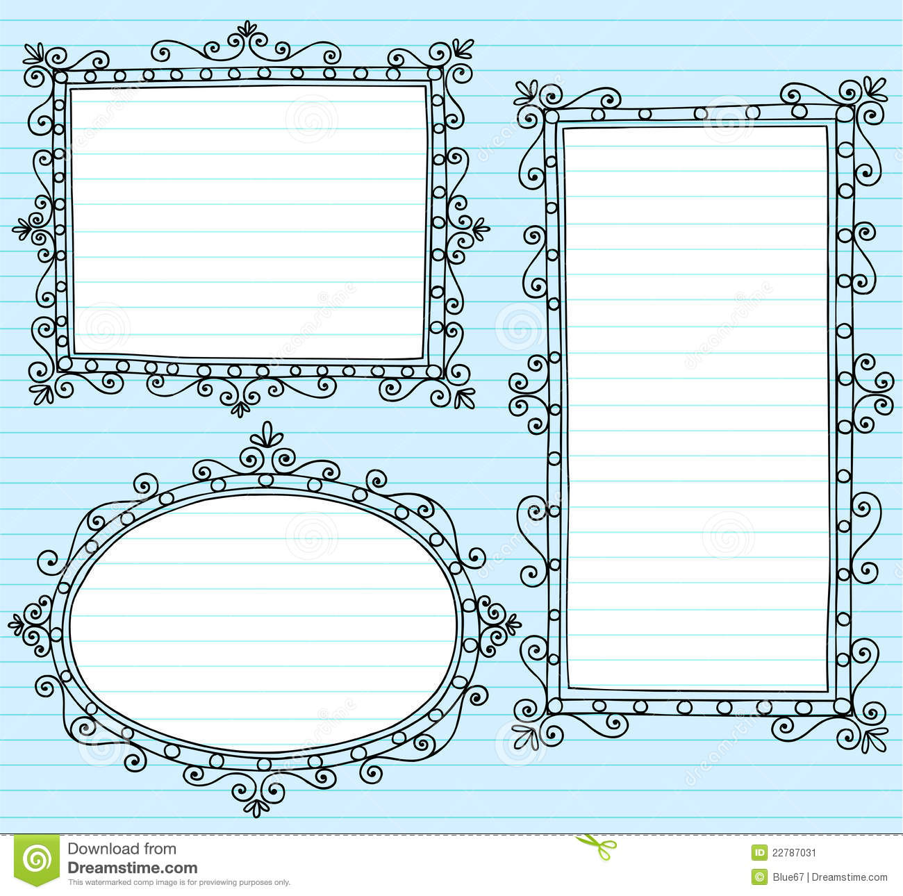 Notebook Doodle Picture Frames Vector Set Vector