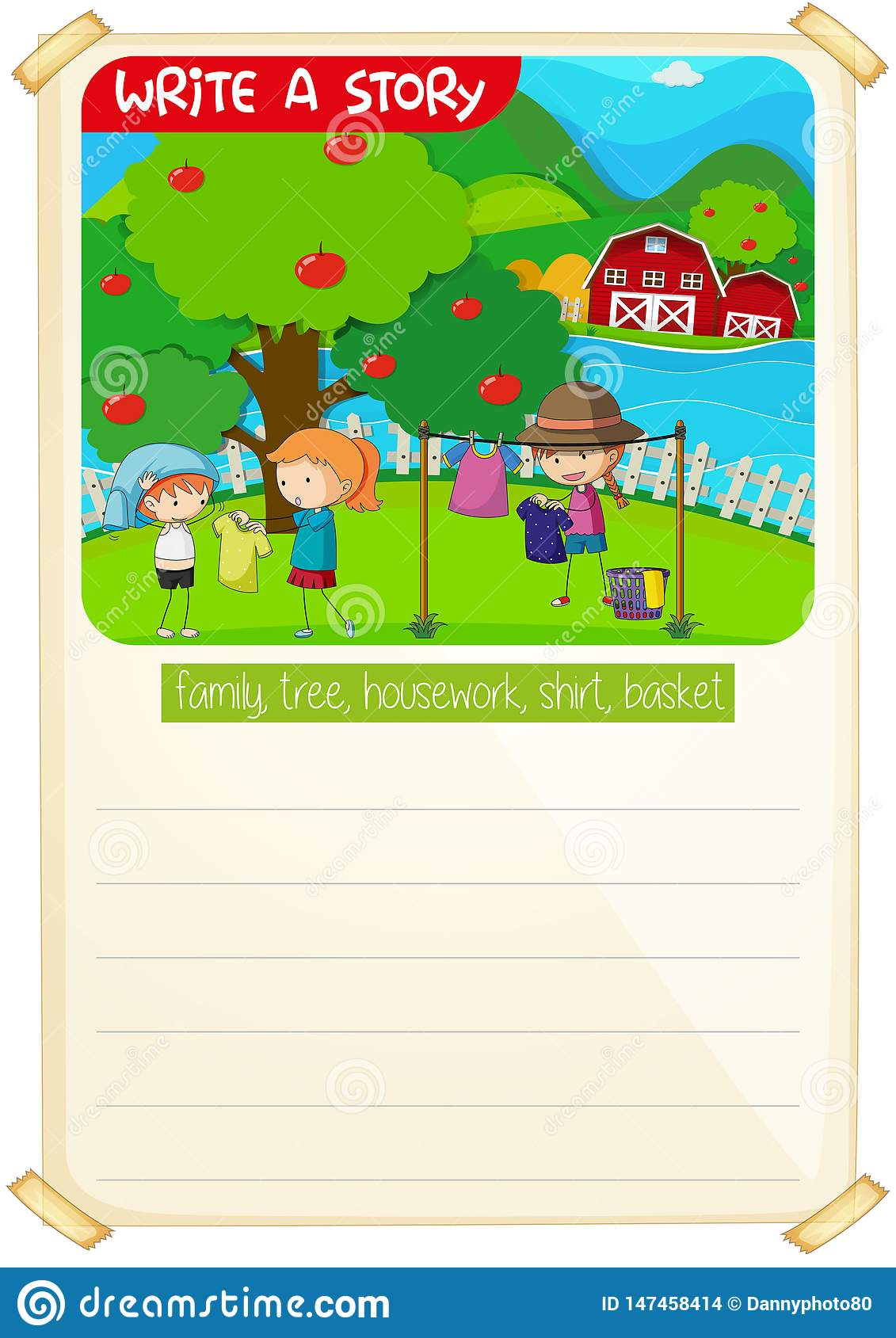 A Picture Narrative Worksheet Stock Vector