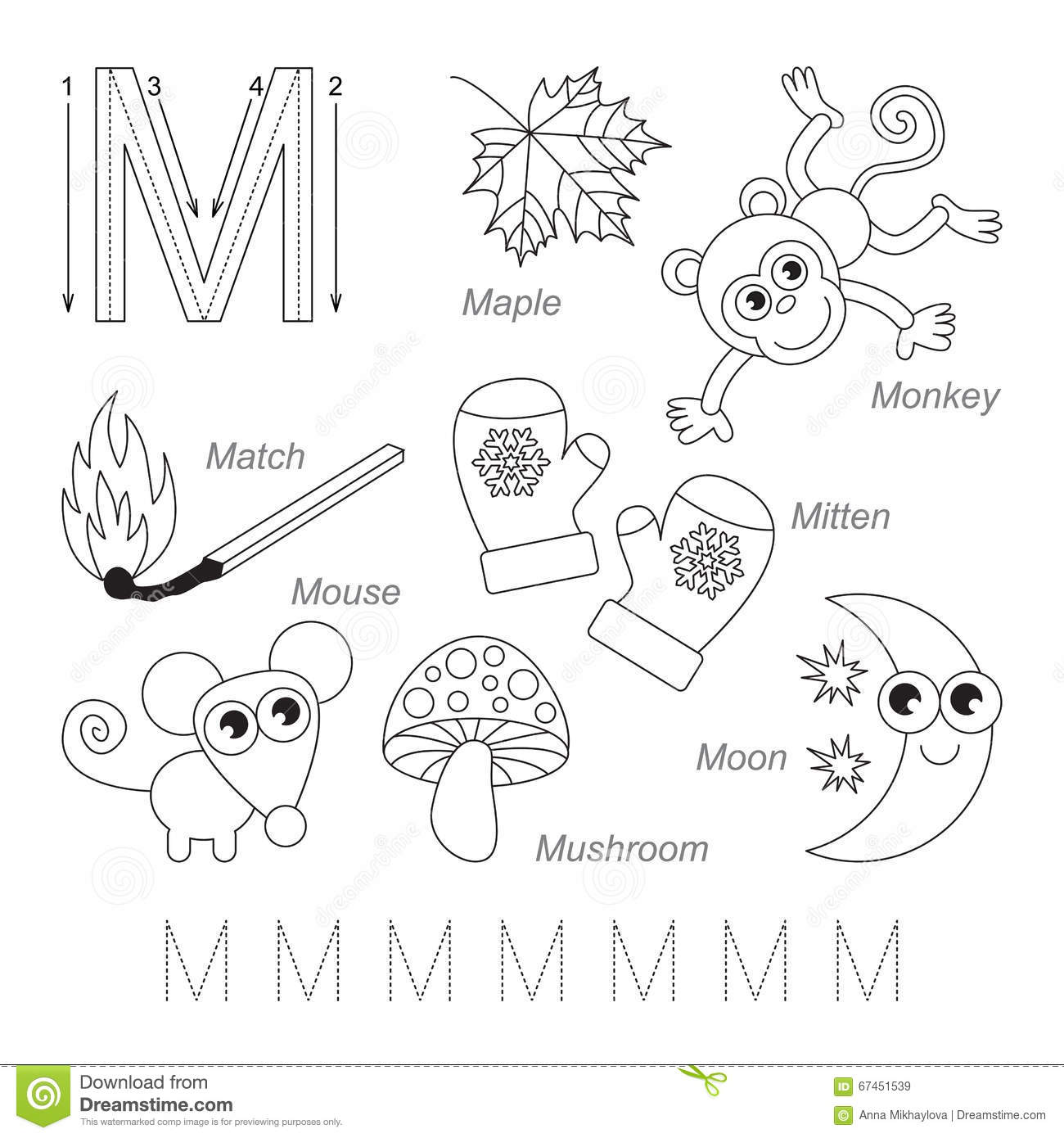 Pictures For Letter M Stock Illustration Illustration Of Moon