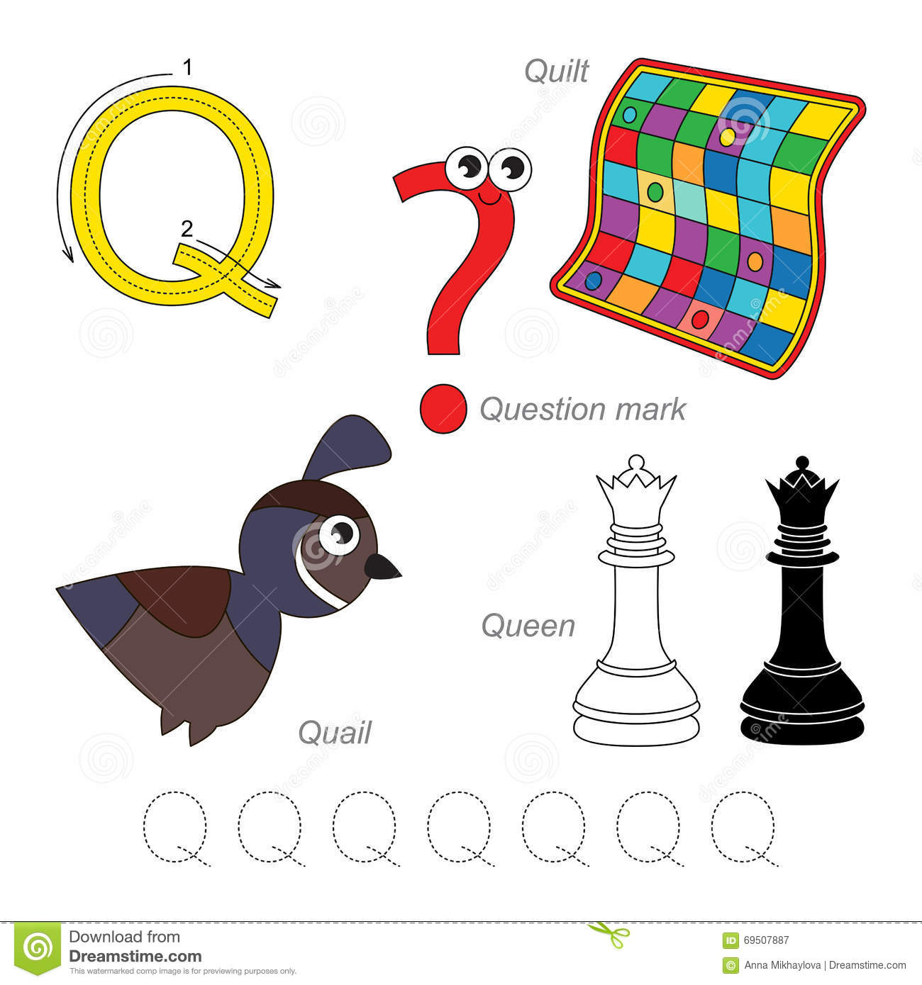 Pictures For Letter Q Stock Vector Illustration Of Quail