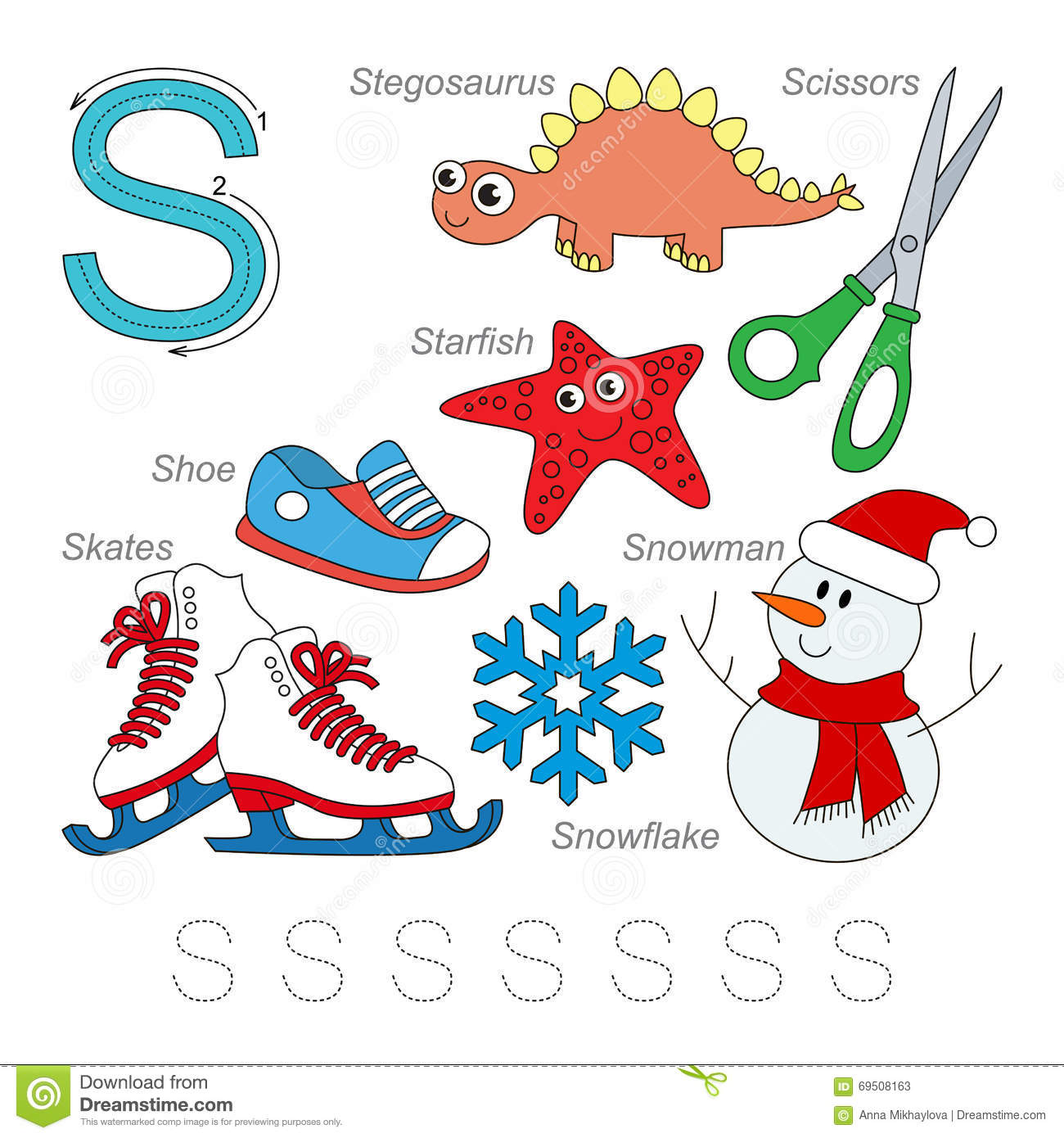 Pictures For Letter S Stock Vector Image Of Preschool
