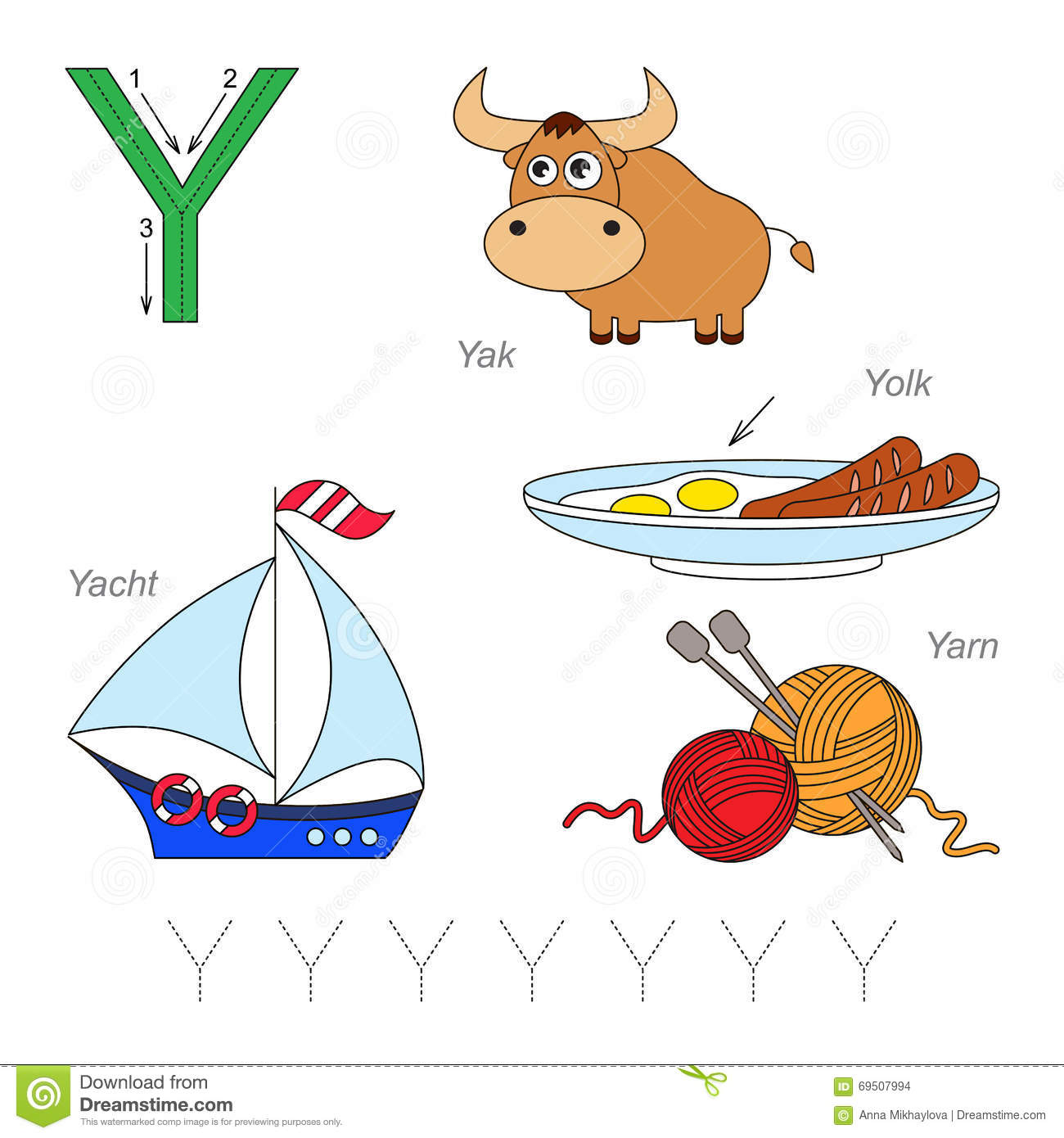 Pictures For Letter Y Stock Vector Illustration Of Alphabet