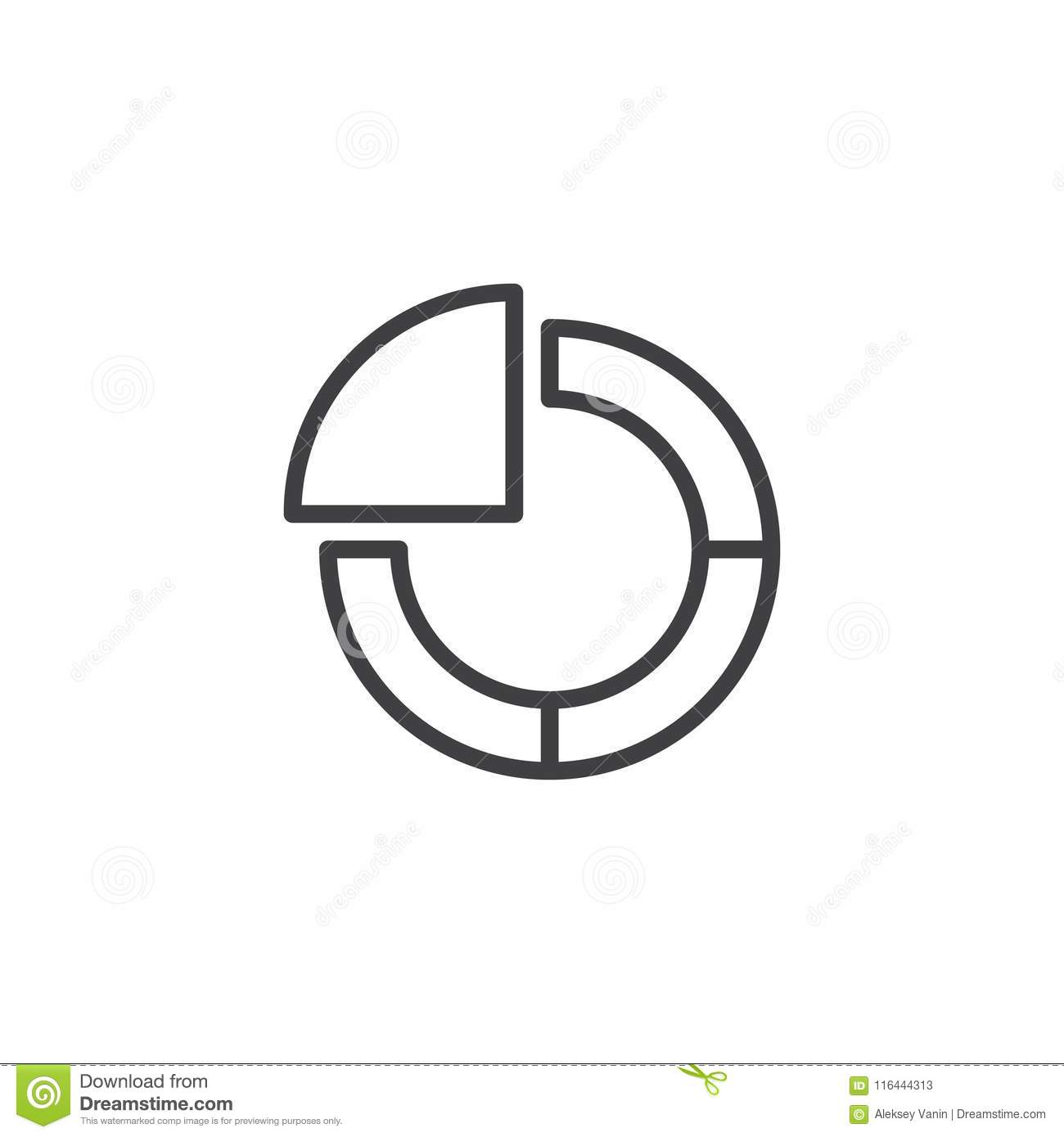 Pie Chart Outline Icon Stock Vector Illustration Of