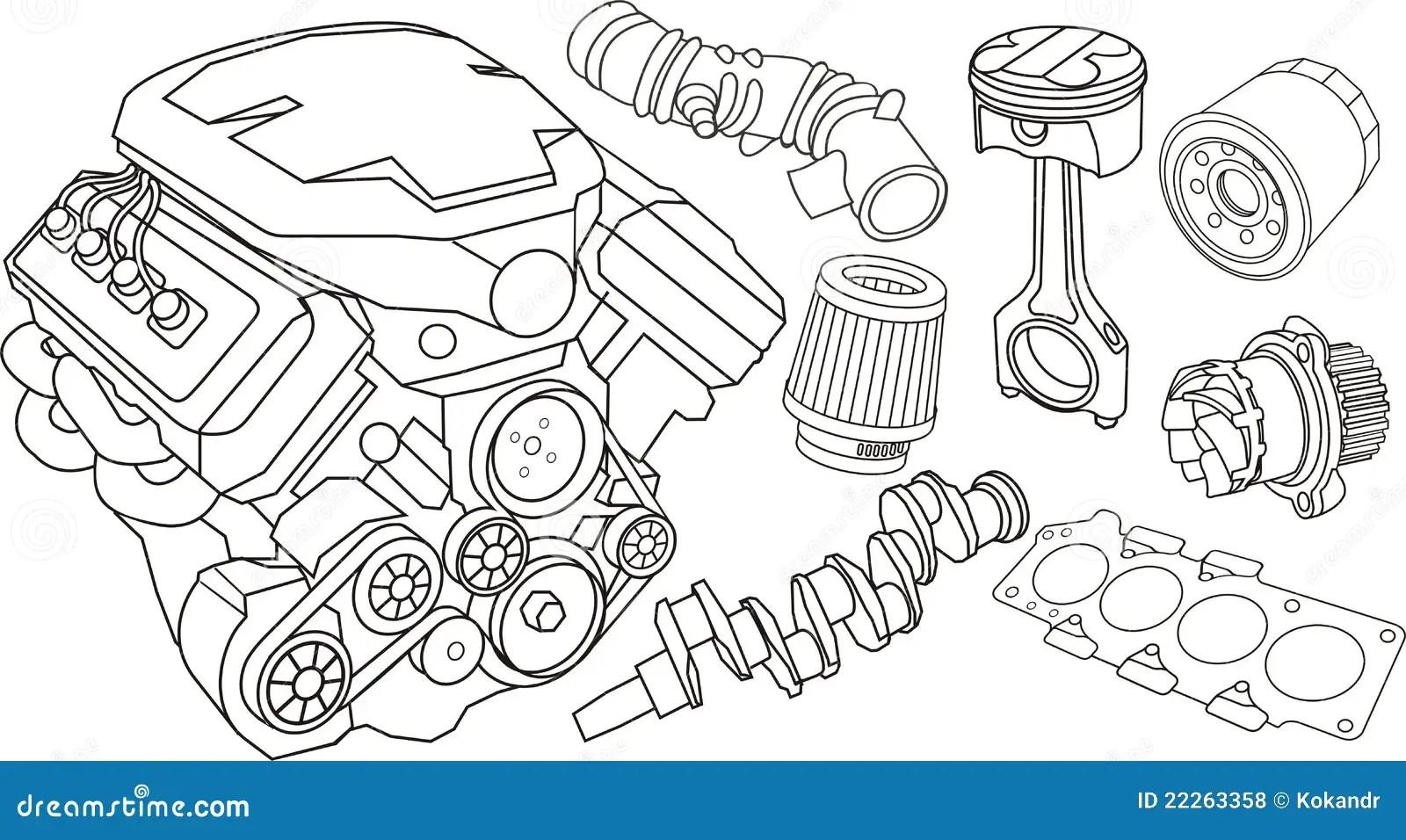 Piezas Del Motor De Coche Ilustracion Del Vector