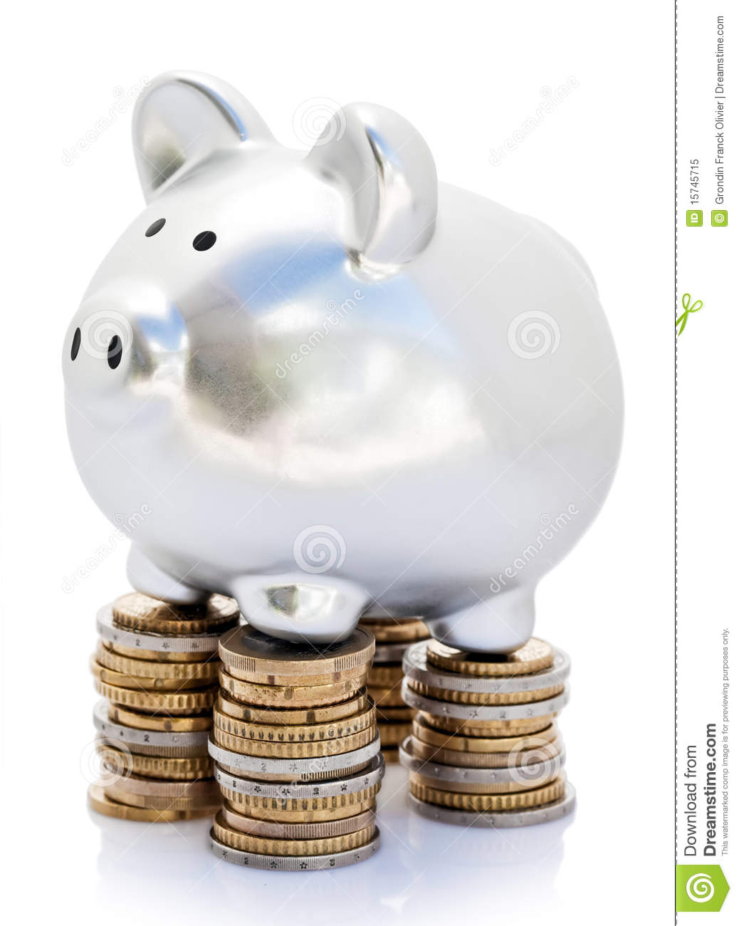 Piggy Bank On Coins Stock Image Image Of Standing Piles