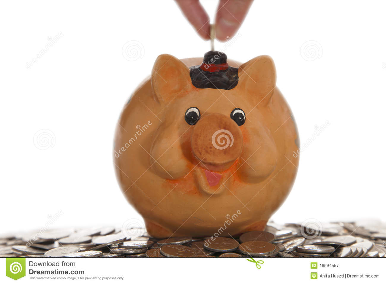 Piggy Bank On Coins Stock Image Image Of Amount Counting