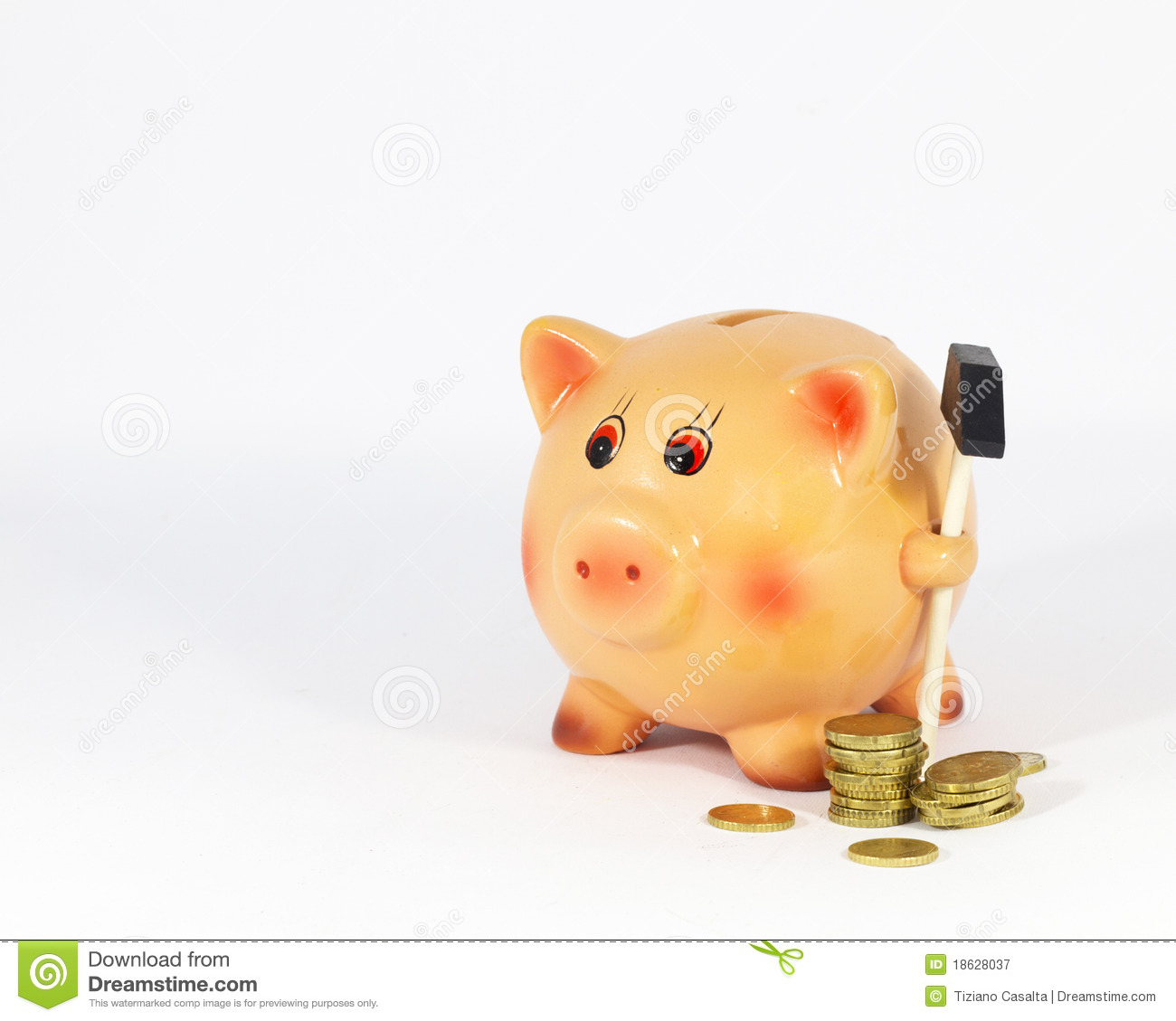 Piggy Bank And Coins Stock Image Image Of Still