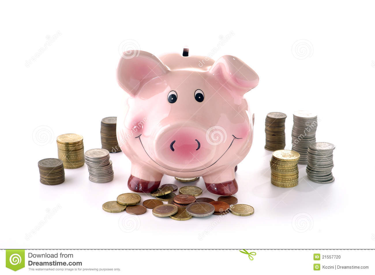 Piggy Bank And Coins Stock Photo Image Of Banking