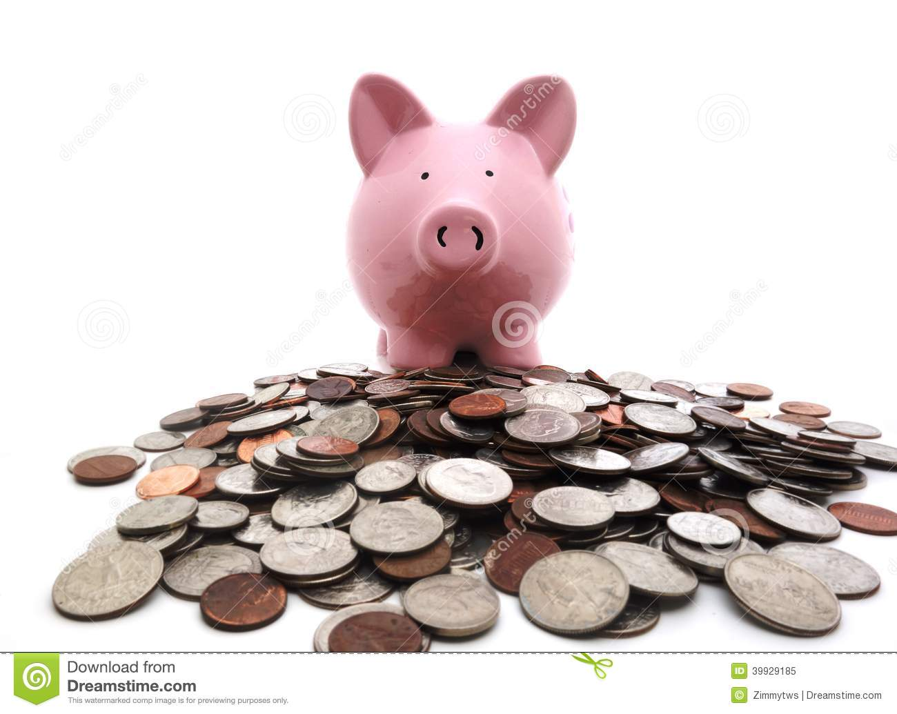Piggy Bank On Coins Stock Image Image Of Bank Finance