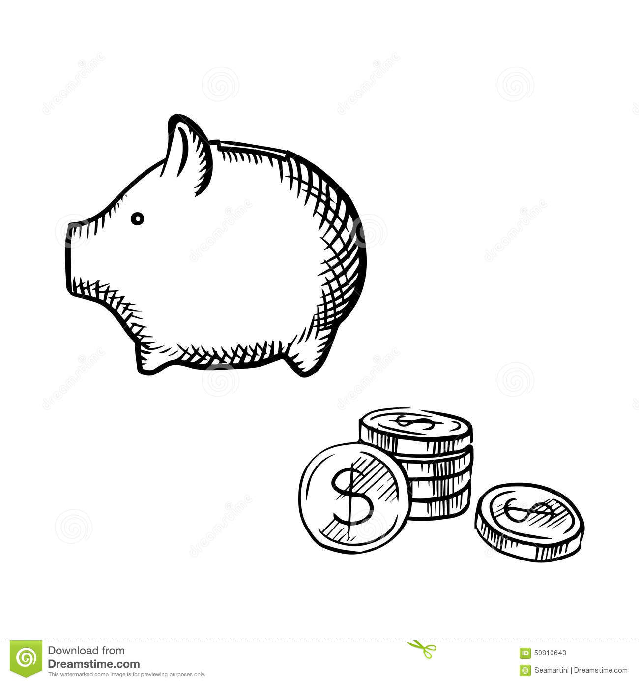 Piggy Bank And Coins Stack Sketch Stock Vector