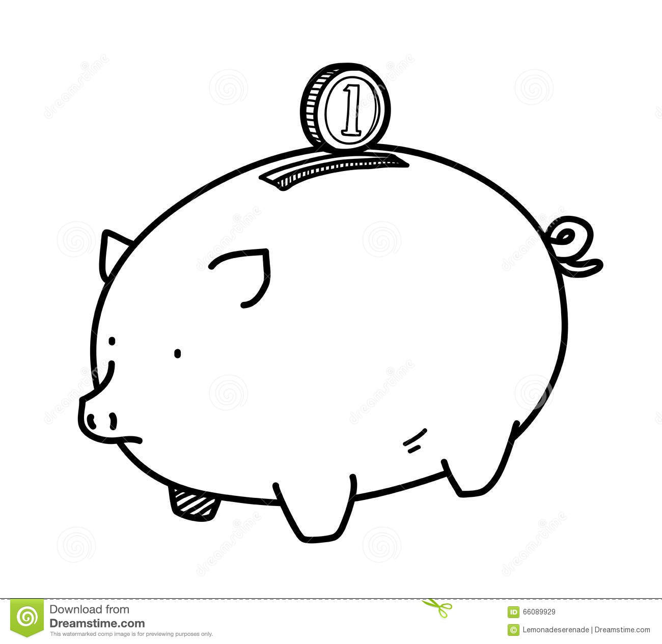 Piggy Bank Doodle Stock Vector Image Of Design