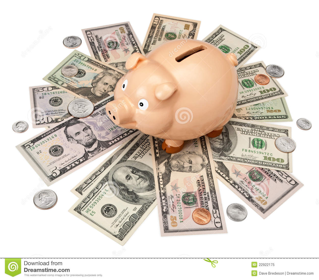 Piggy Bank Money Dollars Stock Image Image Of Container