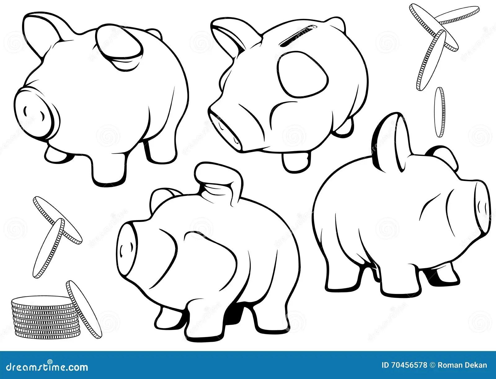 Piggy Bank Set Stock Vector