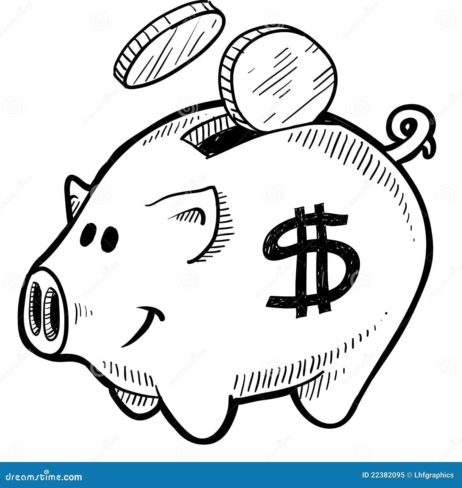 Piggy Bank Sketch Stock Vector Illustration Of Sign