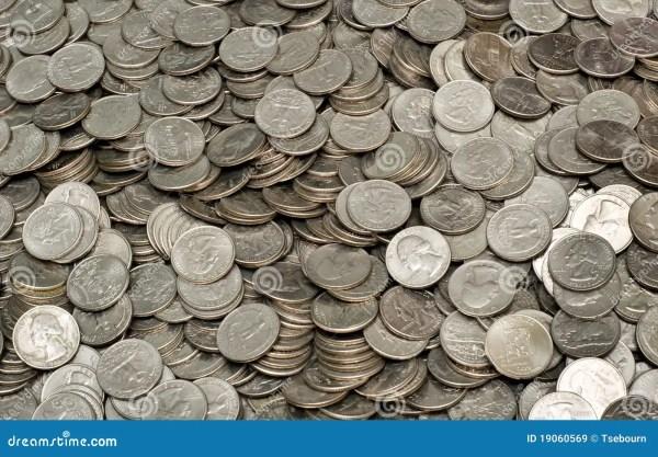 Pile of US Quarters stock image. Image of decline, broke ...