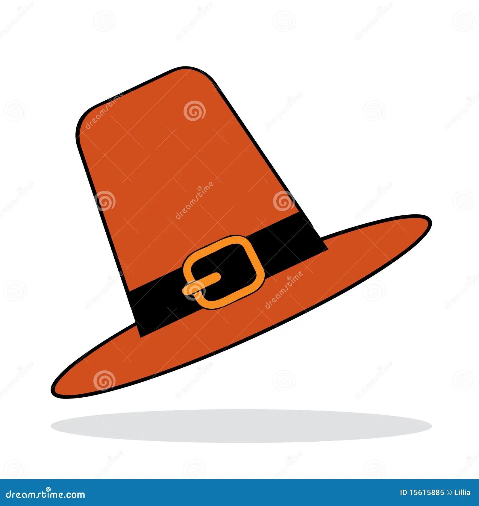 Pilgrim Hat With Grey Shadow Stock Vector