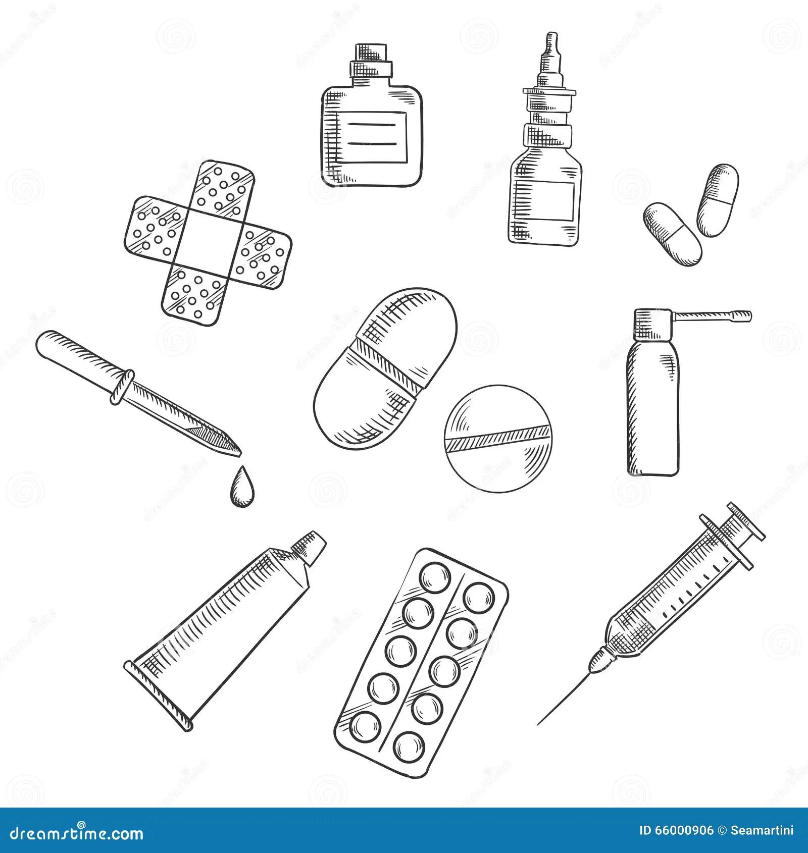 Pillen Drogen Und Medizinische Ikonenskizzen Vektor