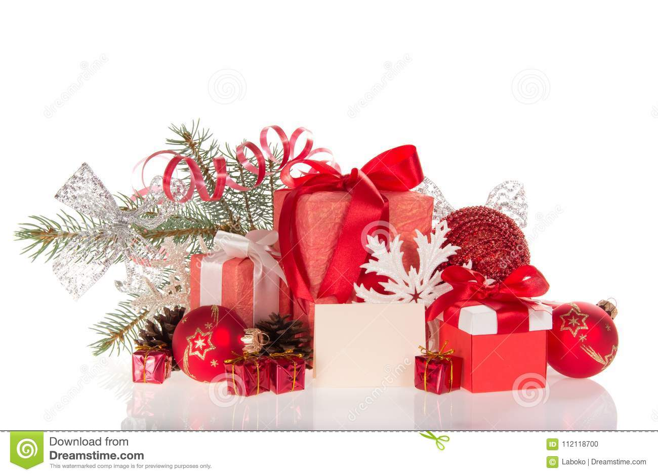 Pine Branch Christmas Decorations And Many Gift Boxes