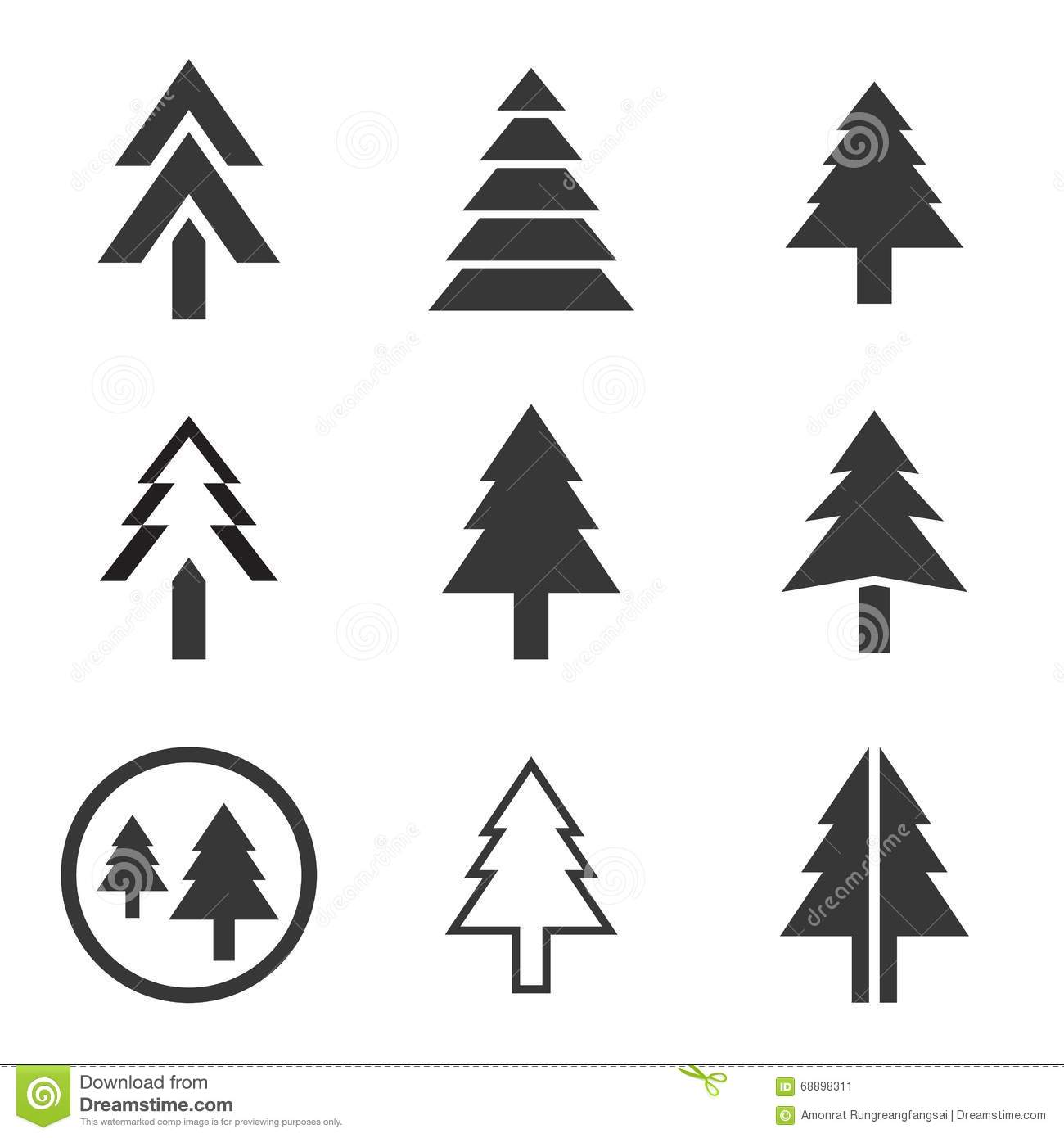 Pine Tree Icon Stock Vector Illustration Of Leaf Style