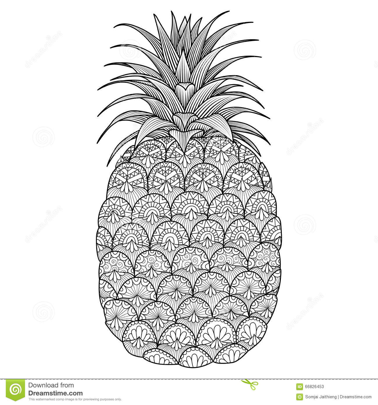 Pineapple line art design stock vector image 66826453, i love you mom and dad coloring pages