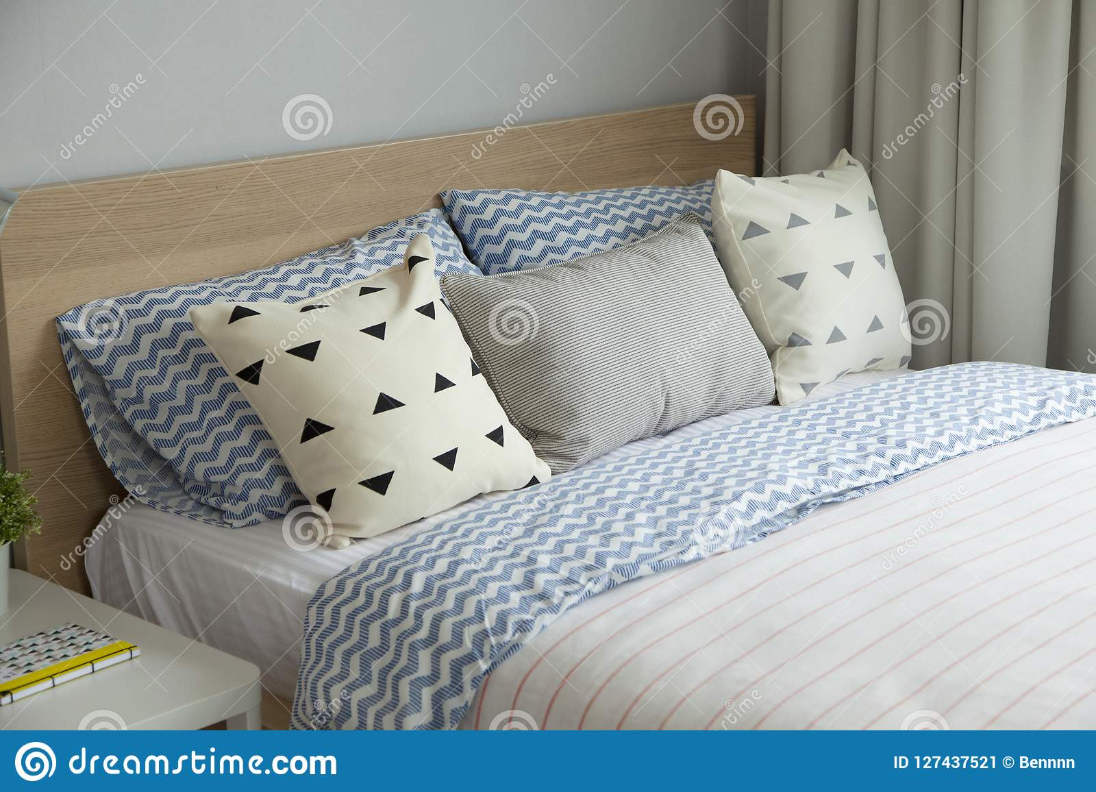 https www dreamstime com pink blue blanket creative pillows bed colorful kids room white side table lamp image127437521