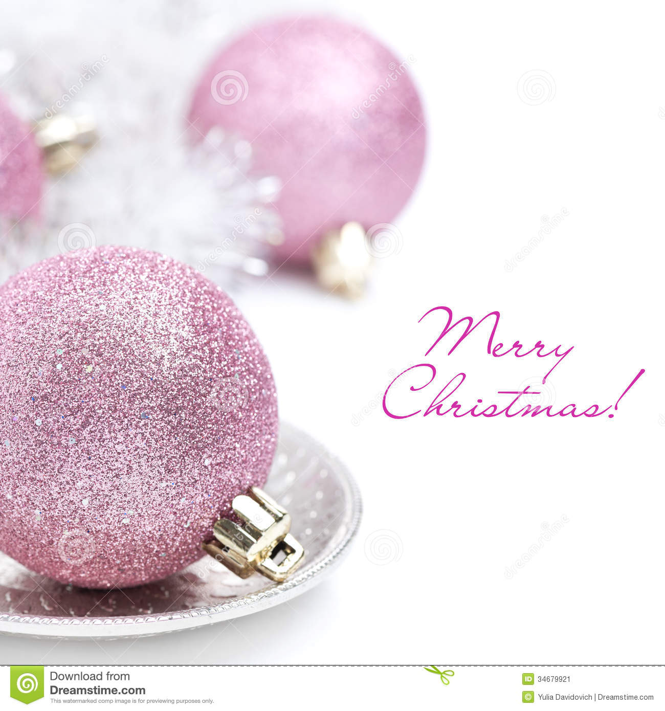 Pink Christmas Ball And Tinsel Close Up Isolated Stock