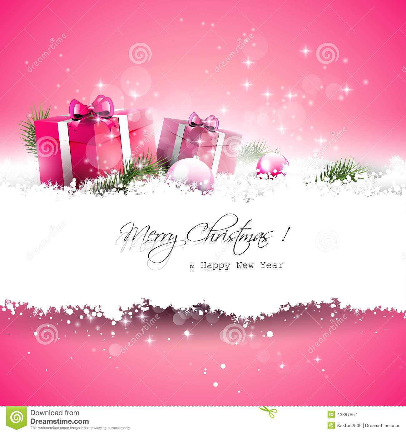 Pink Christmas Greeting Card Stock Vector Illustration Of Copyspace Religion 43397867