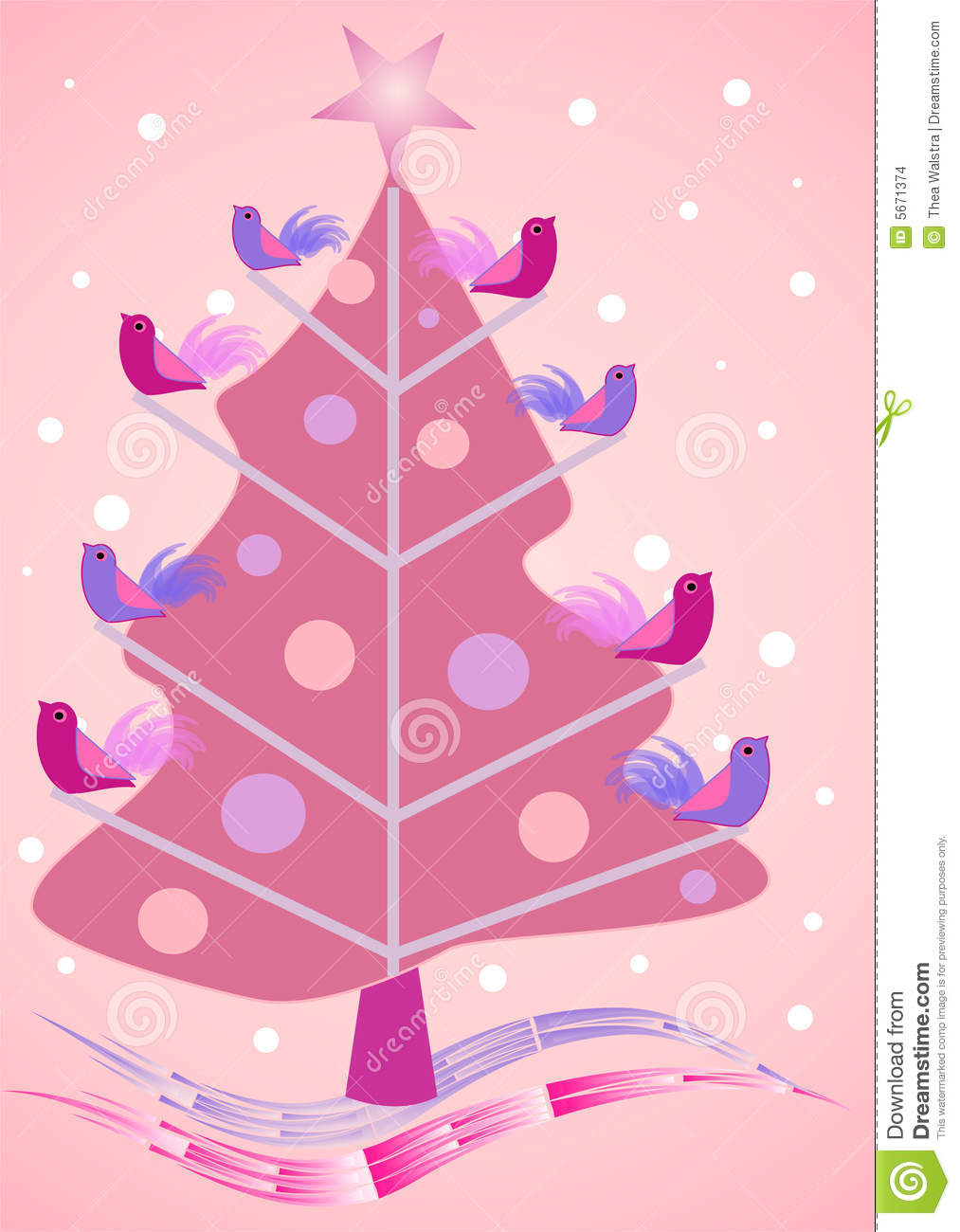 Pink Christmas Tree With Birdies Stock Images Image 5671374