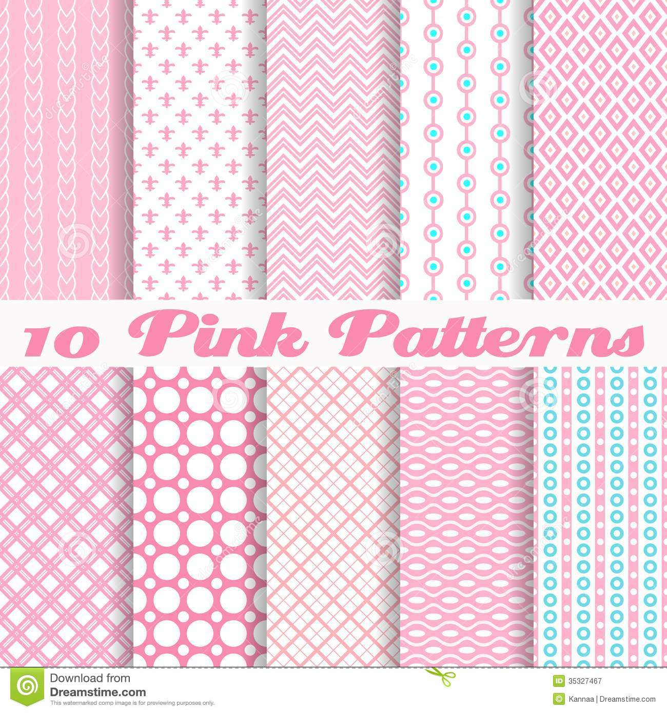 Pink Different Vector Seamless Patterns Royalty Free Stock