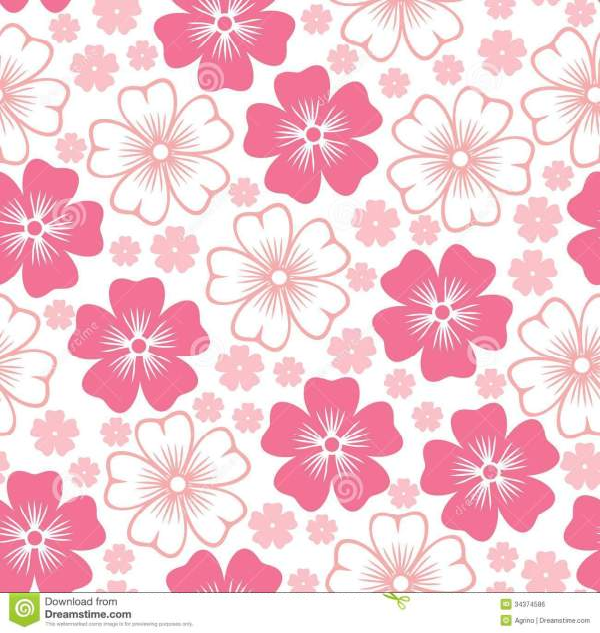 Pink Flower Seamless Pattern Stock Vector Illustration