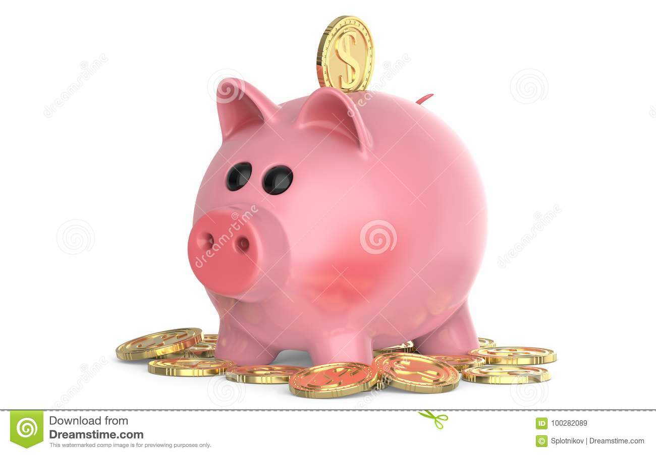 Pink Pig Piggy Bank With Coin Falling Into Slot On Pile