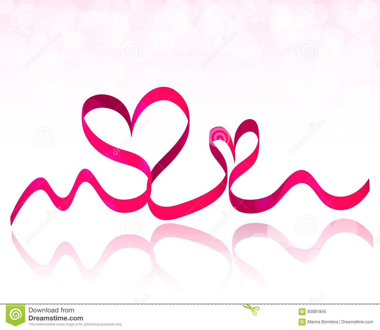 Pink Ribbon Hearts Valentines Day Background Vector Stock