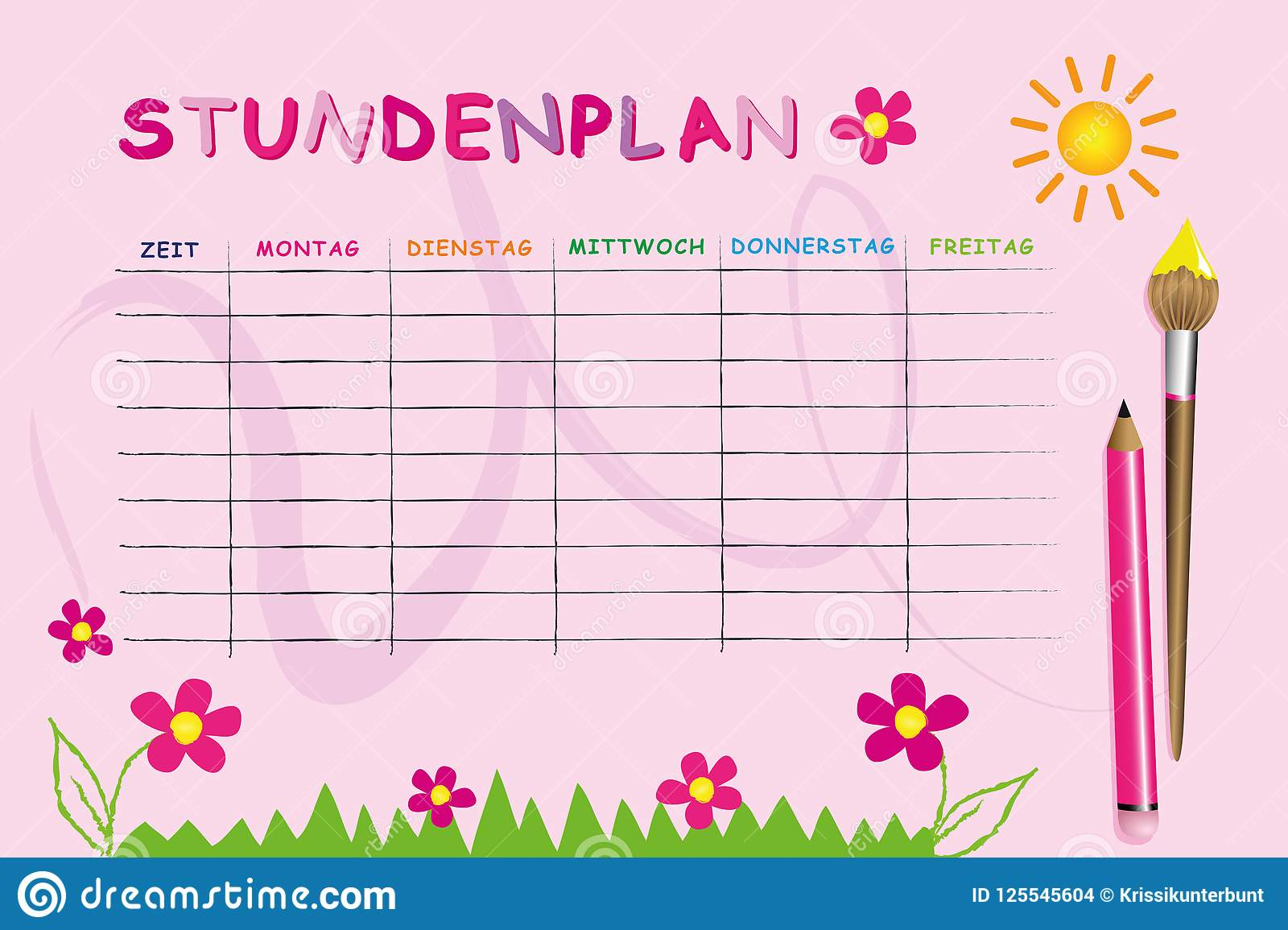 Pink School Timetable Template With Flowers Stock Vector