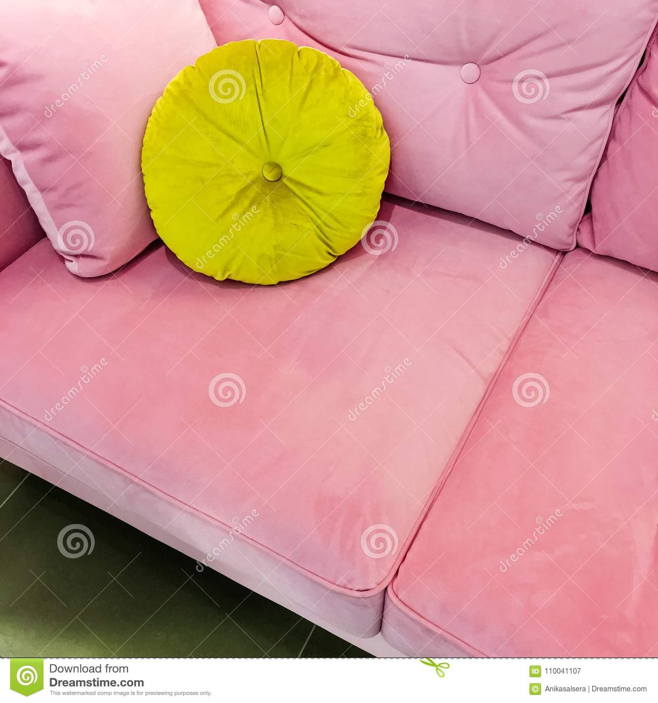 Pink Velvet Sofa With Fancy Green Cushion Stock Image Image Of Comfortable Pillow 110041107
