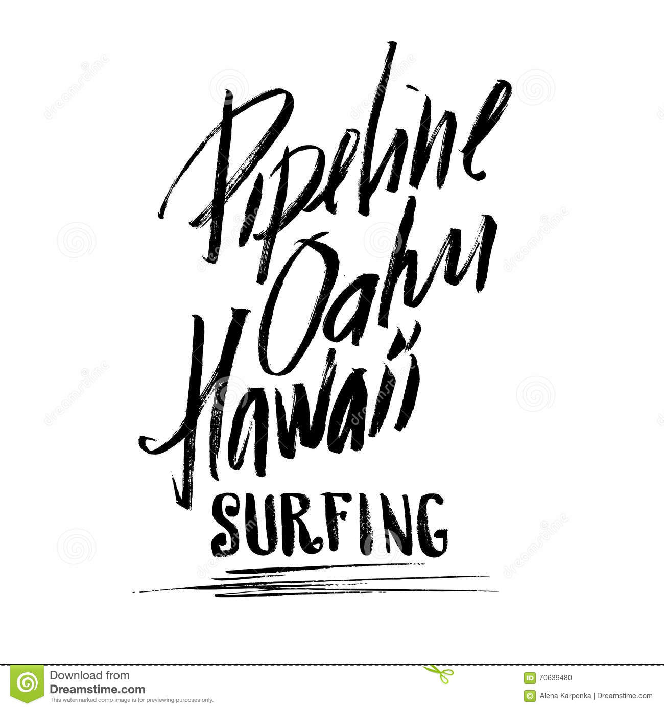 Pipeline Oahu Hawaii Surfing Lettering Brush Ink Sketch
