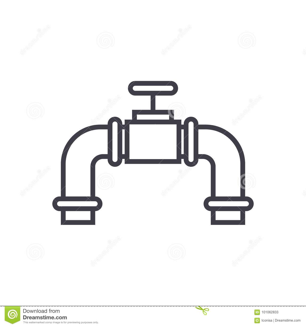 Pipes With Gas Valve Vector Line Icon Sign Illustration