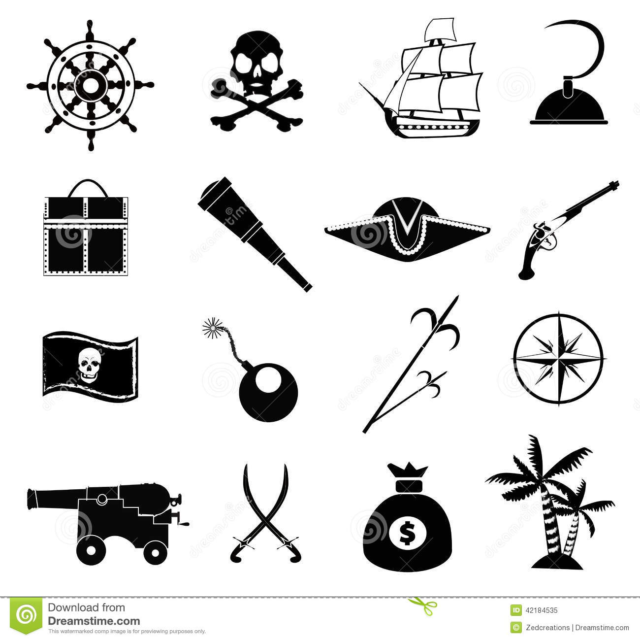 Pirate Icons Set Stock Vector
