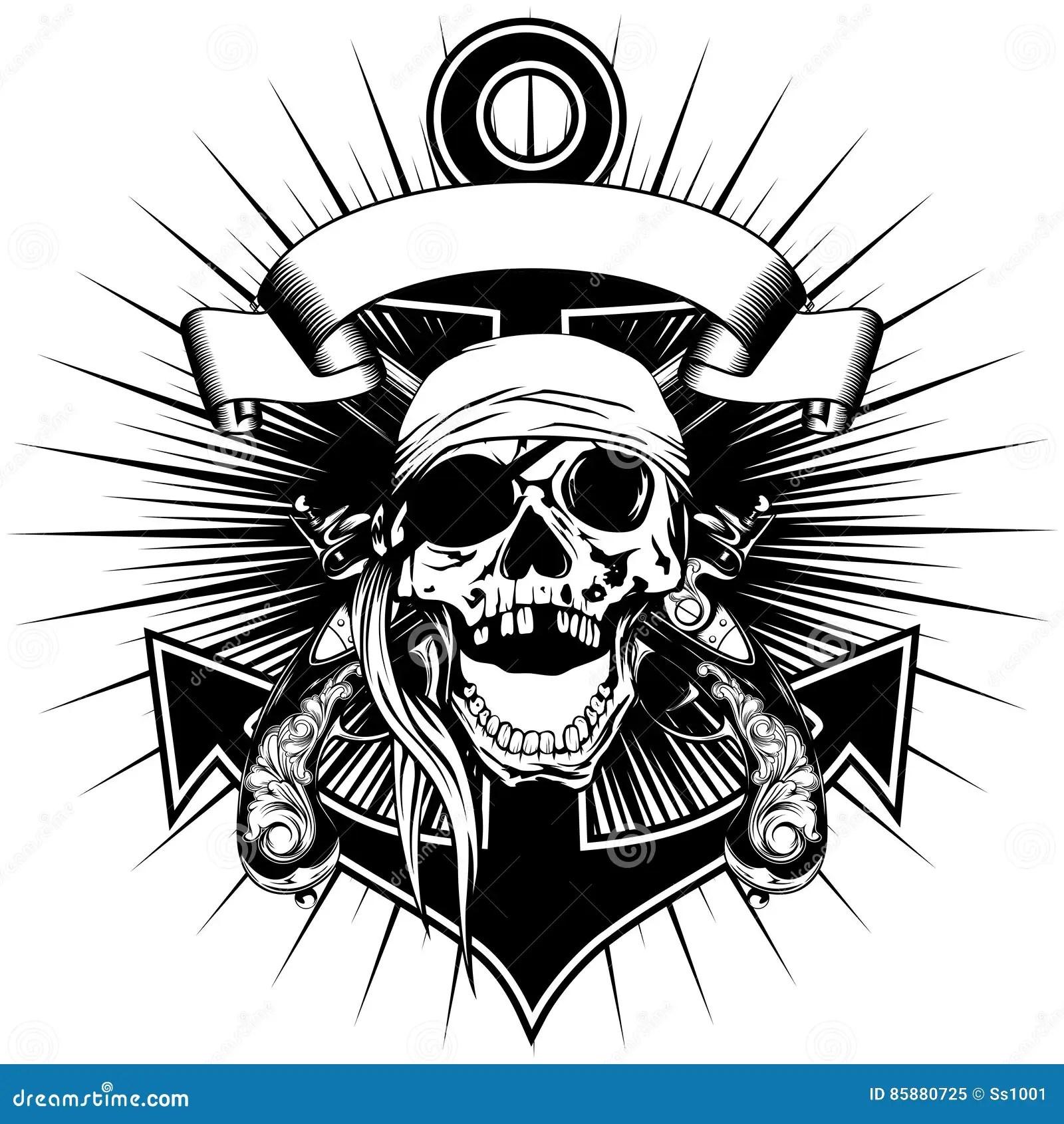 Anchor And Skull Vector Illustration