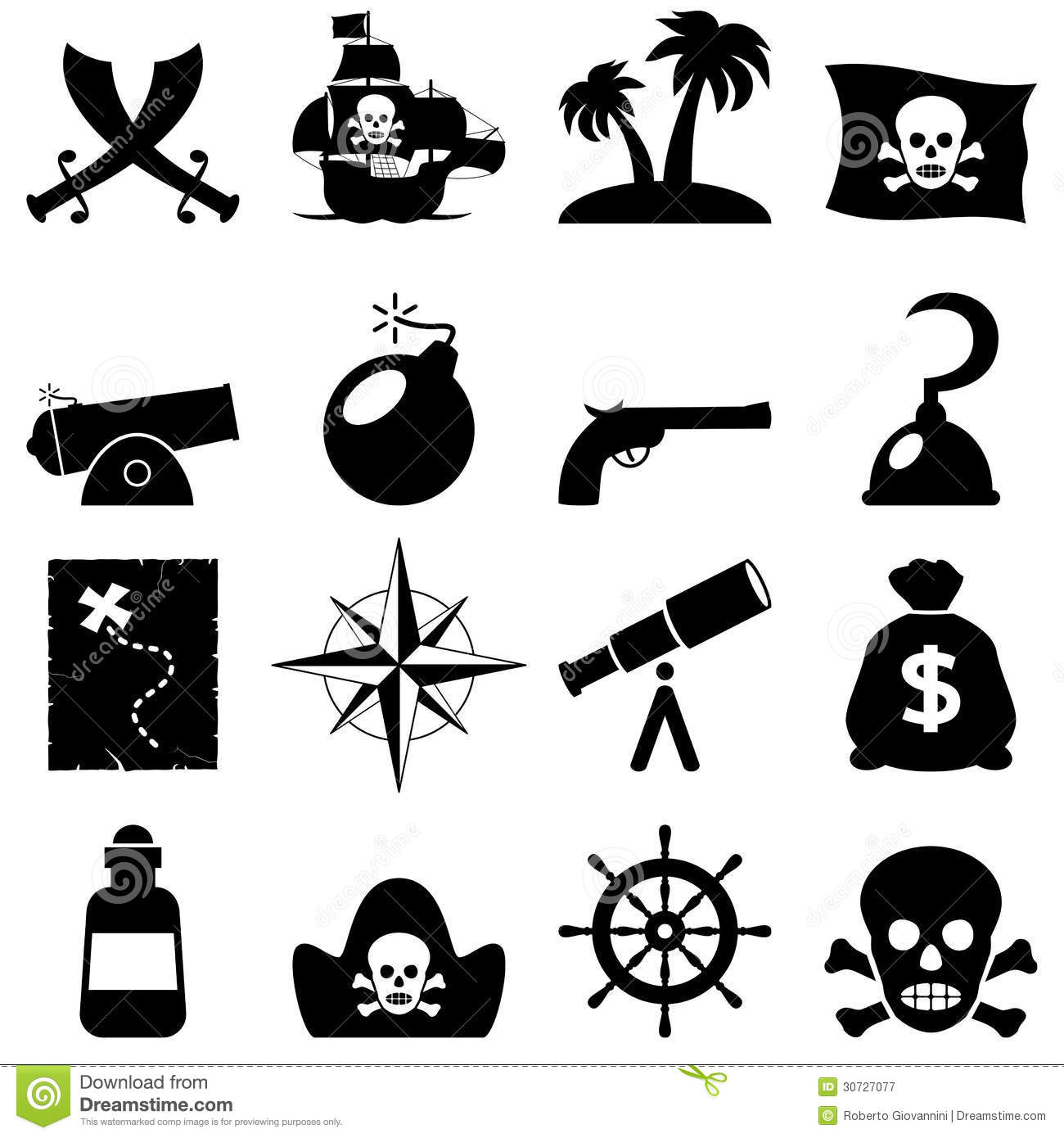 Pirates Black And White Icons Royalty Free Stock