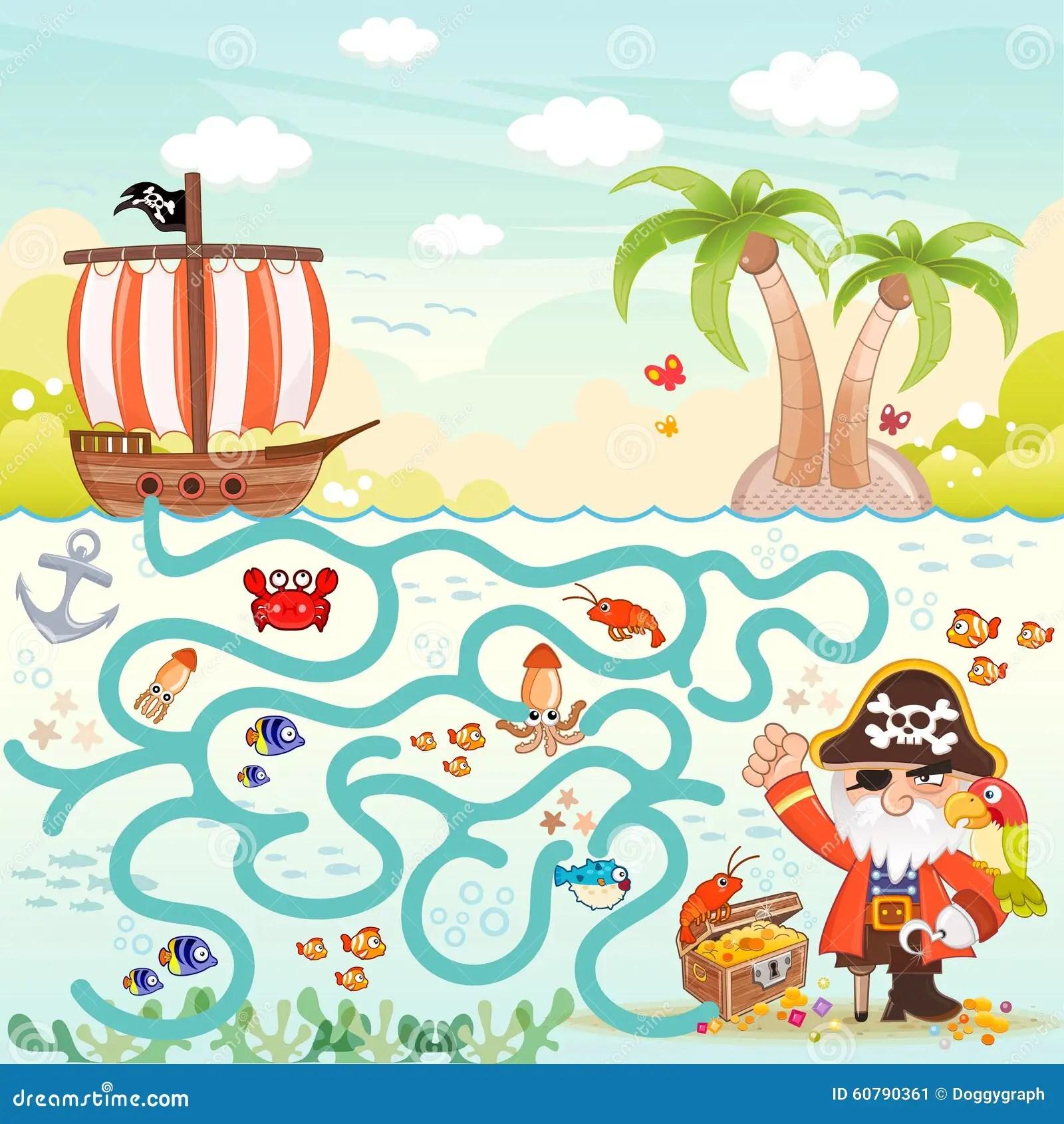 Pirates Amp Treasure Maze For Kids Stock Vector