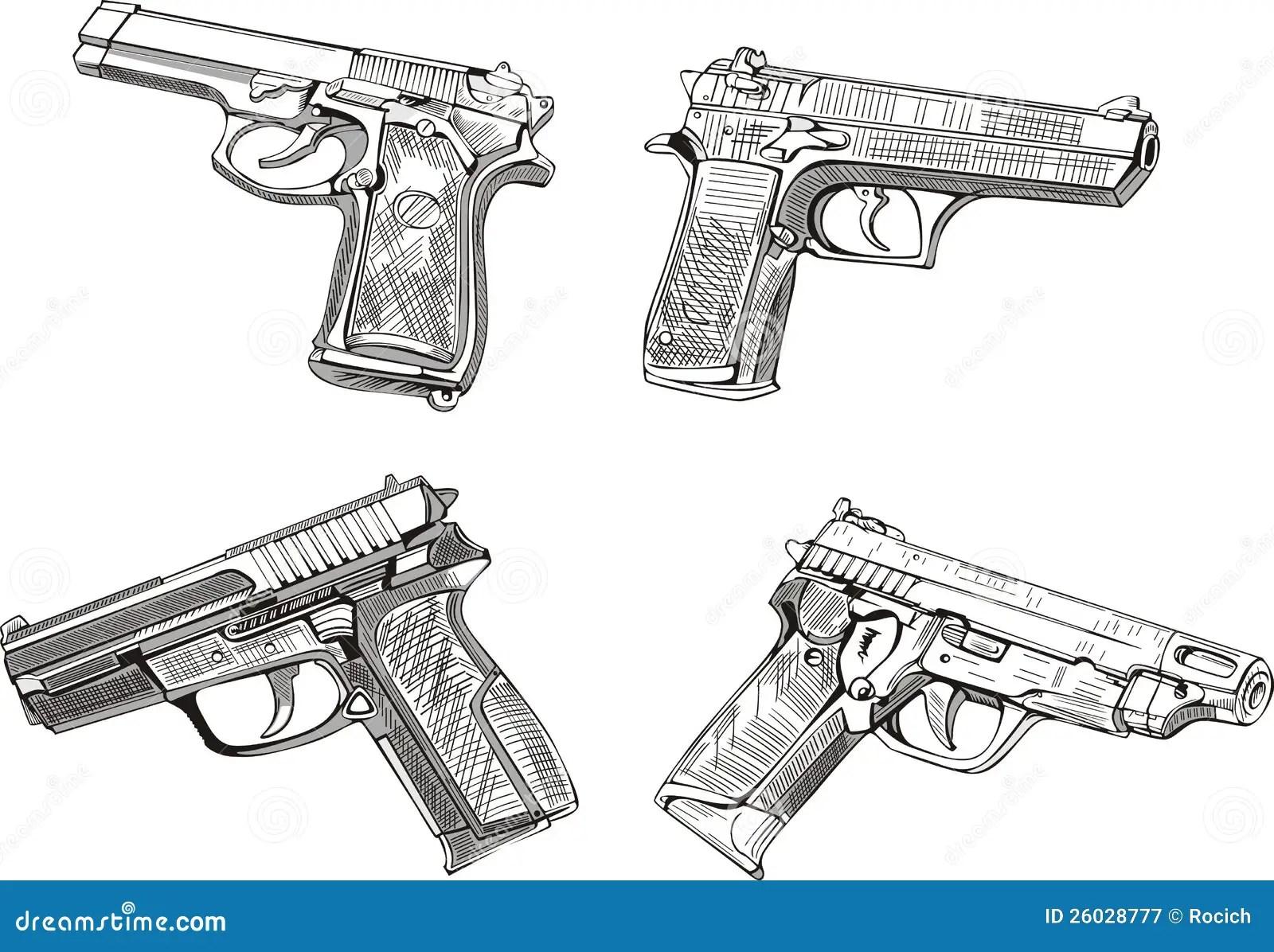 Pistol Sketches Stock Vector Illustration Of Pistol