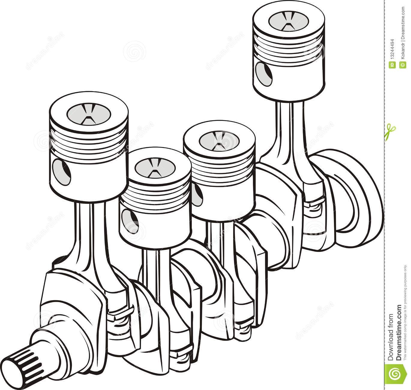 Pistons With Crankshaft Stock Images