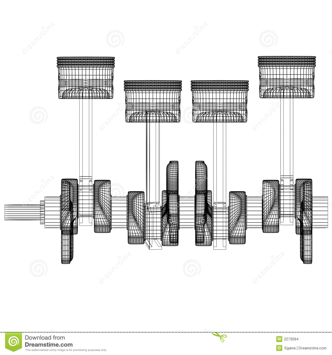 Pistons Crankshaft Stock Illustration Illustration Of