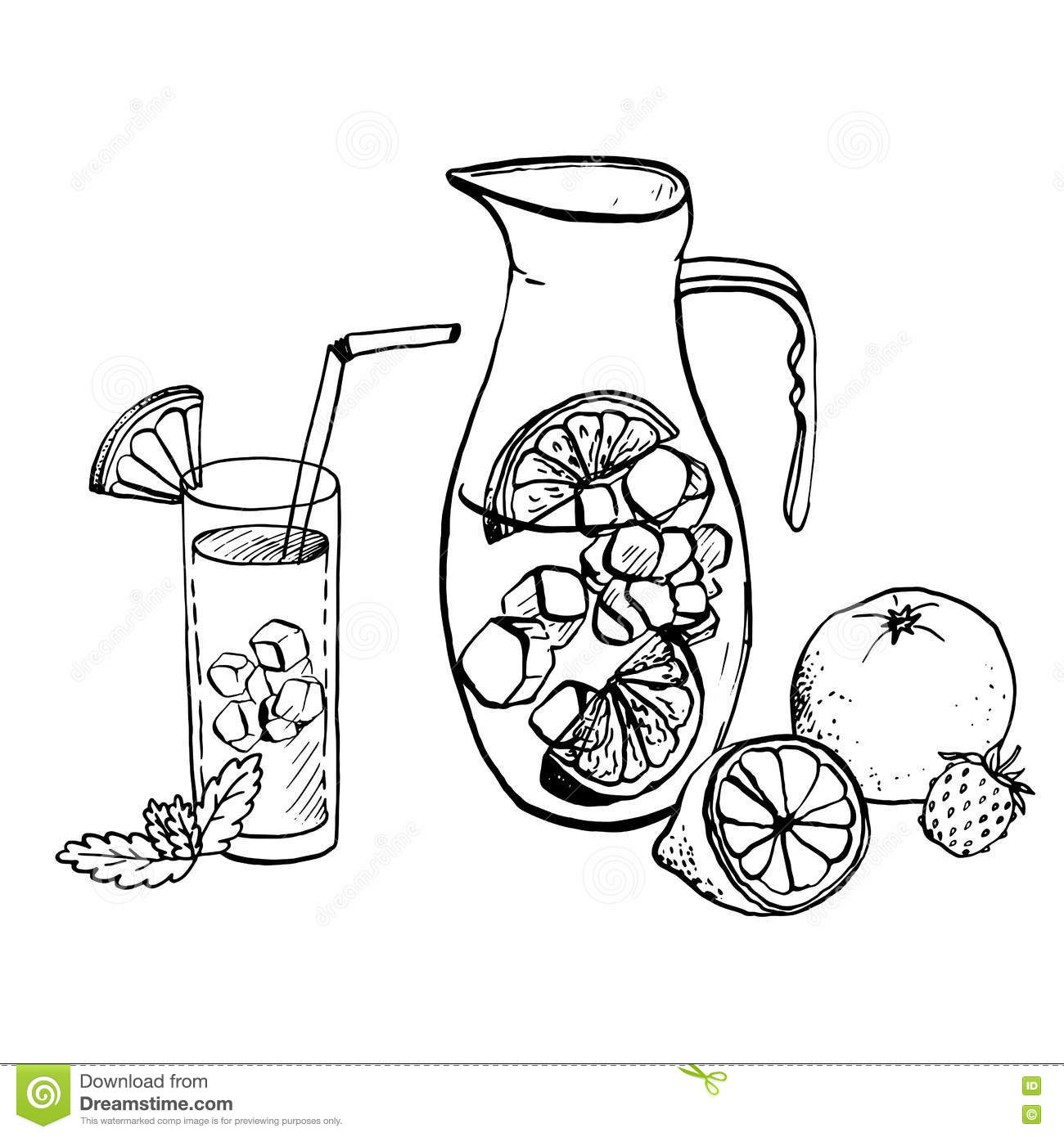 Pitcher Of Lemonade And Drink In A Glass Stock Vector